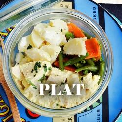 Sauté de veau Provencal, pommes de terre et haricots verts